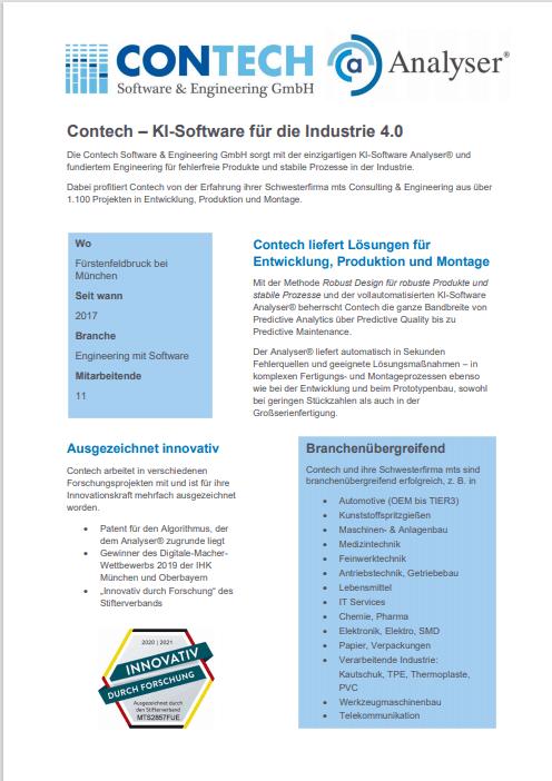 Flyer der Firma Contech Software & Engineering GmbH
